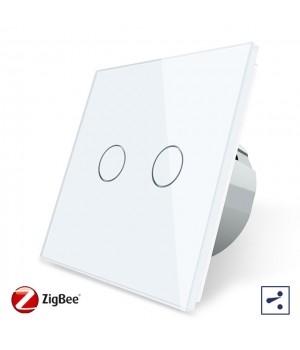 WiFi Сенсорный двухлинейный проходной выключатель Livolo ZigBee (белый) - 1