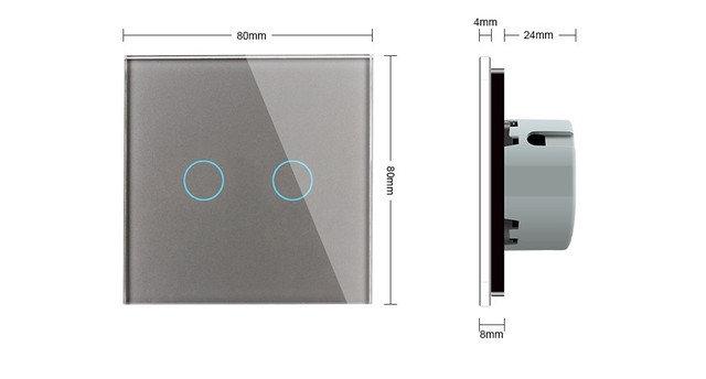 WiFi Сенсорный двухлинейный проходной выключатель Livolo ZigBee (серый) - 1