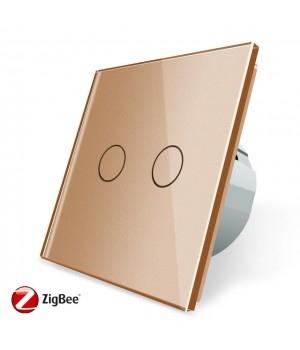 Сенсорный двухлинейный выключатель Livolo ZigBee (золото ) - 1