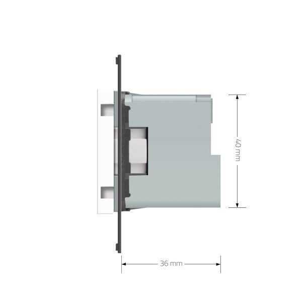 Модуль розетки электрической ZigBee (Wi-Fi) с заземлением защитными шторками 16A Livolo, цвет белый  - 2