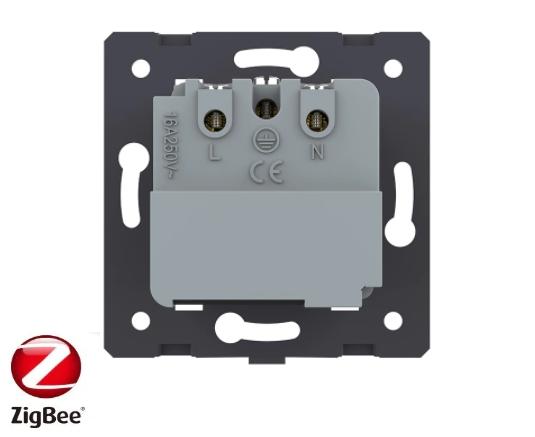 Модуль розетки электрической ZigBee (Wi-Fi) с заземлением защитными шторками 16A Livolo, цвет белый  - 1