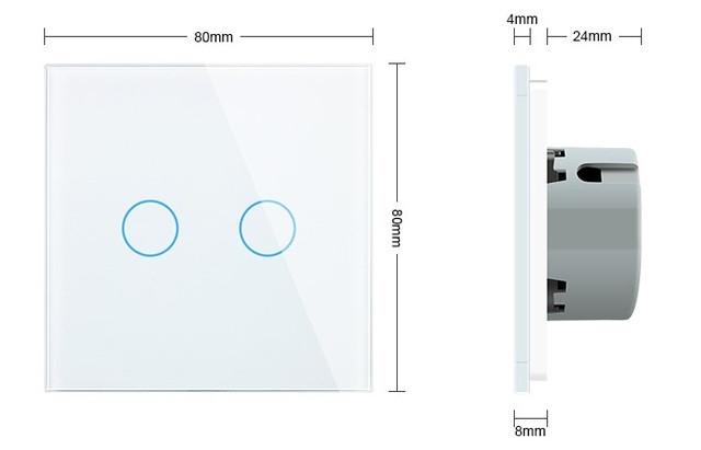 WiFi Сенсорный двухлинейный проходной выключатель Livolo ZigBee (белый) - 2
