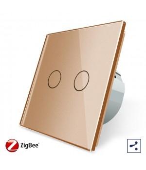 WiFi Сенсорный двухлинейный проходной выключатель Livolo ZigBee (золото) - 1