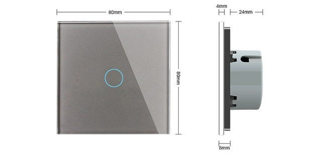 WiFi Сенсорный однолинейный выключатель Livolo ZigBee (серый) - 1
