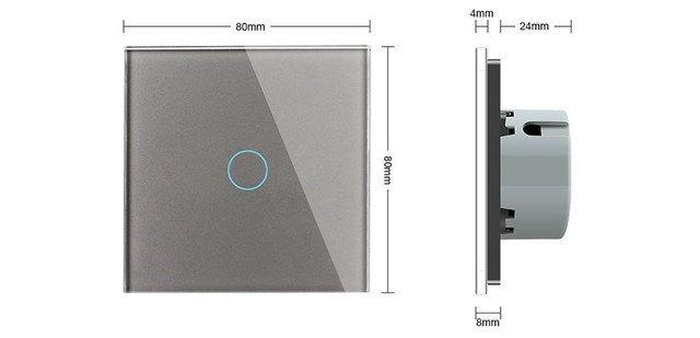 WiFi Сенсорный однолинейный проходной выключатель Livolo ZigBee (серый) - 1