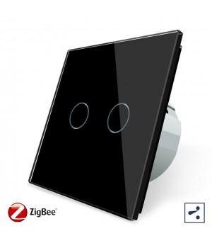 WiFi Сенсорный двухлинейный проходной выключатель Livolo ZigBee (черный) - 1