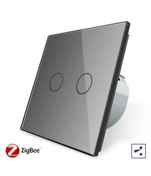 WiFi Сенсорный двухлинейный проходной выключатель Livolo ZigBee (серый) - 2