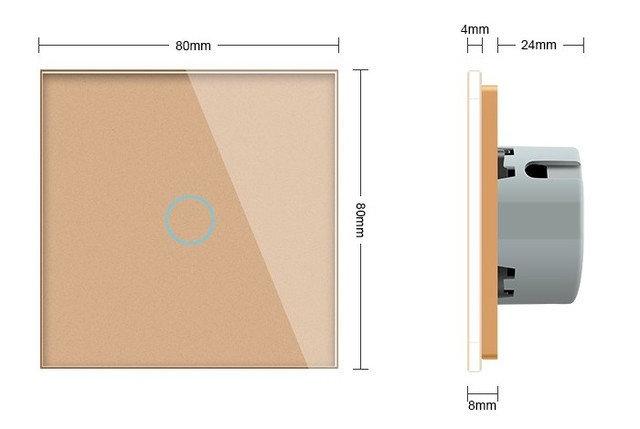 WiFi Сенсорный однолинейный проходной выключатель Livolo ZigBee (золото) - 1