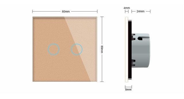 WiFi Сенсорный двухлинейный проходной выключатель Livolo ZigBee (золото) - 2