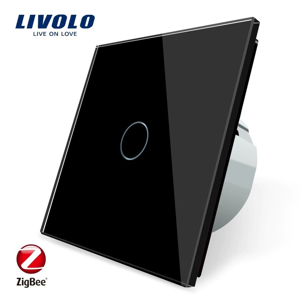 WiFi Сенсорный однолинейный выключатель Livolo ZigBee черный  - 2