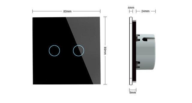 Сенсорный двухлинейный выключатель Livolo ZigBee (черный ) - 1